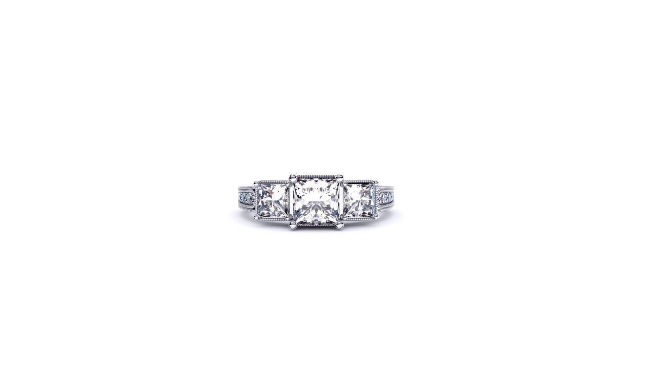 Antique style 3 stone princess ring by Brisbane Diamond Company