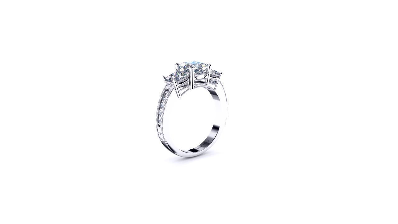 Antique style 3 stone princess by Brisbane Diamond Company angle view