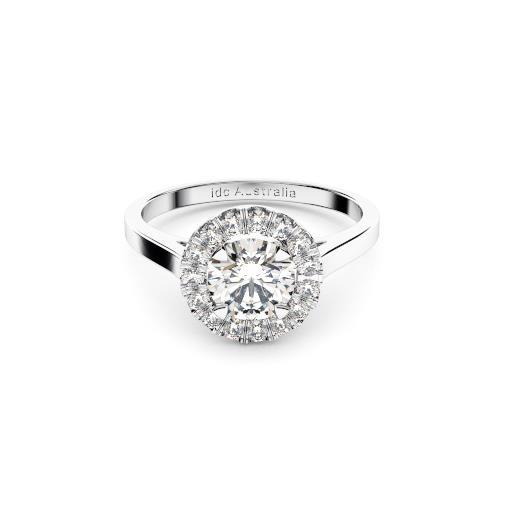 Brisbane diamonds halo engagement ring in white gold