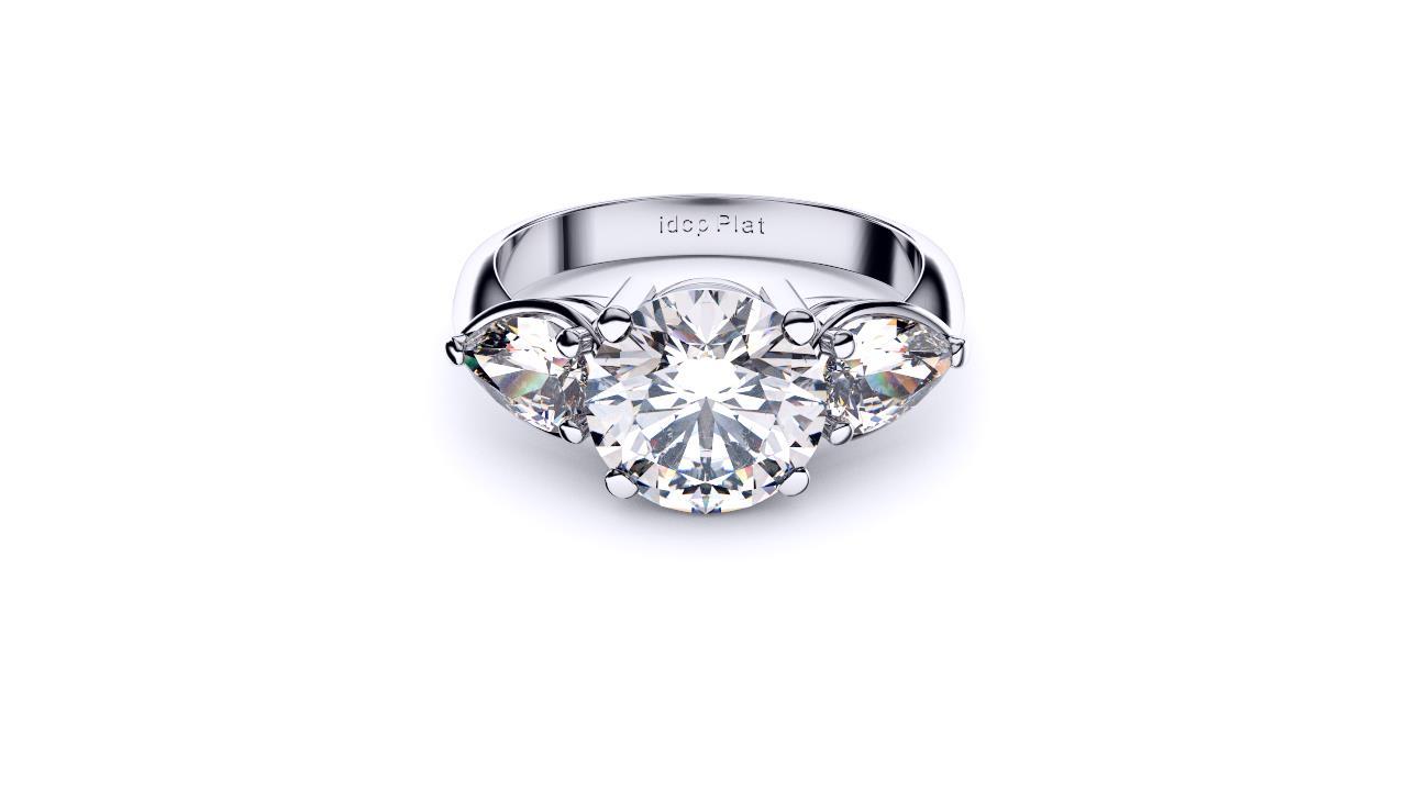 Brisbane diamond engagement ring three stone round with pears lay down