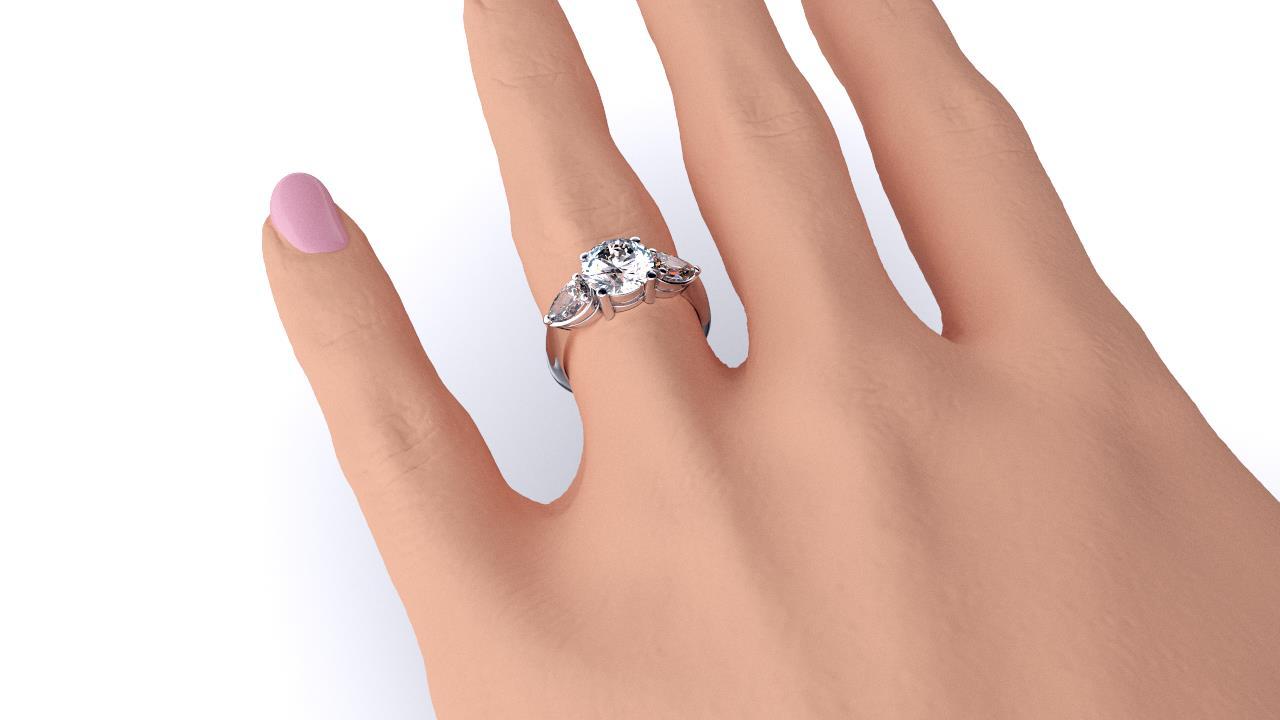 Brisbane diamond engagement ring three stone round with pears hand