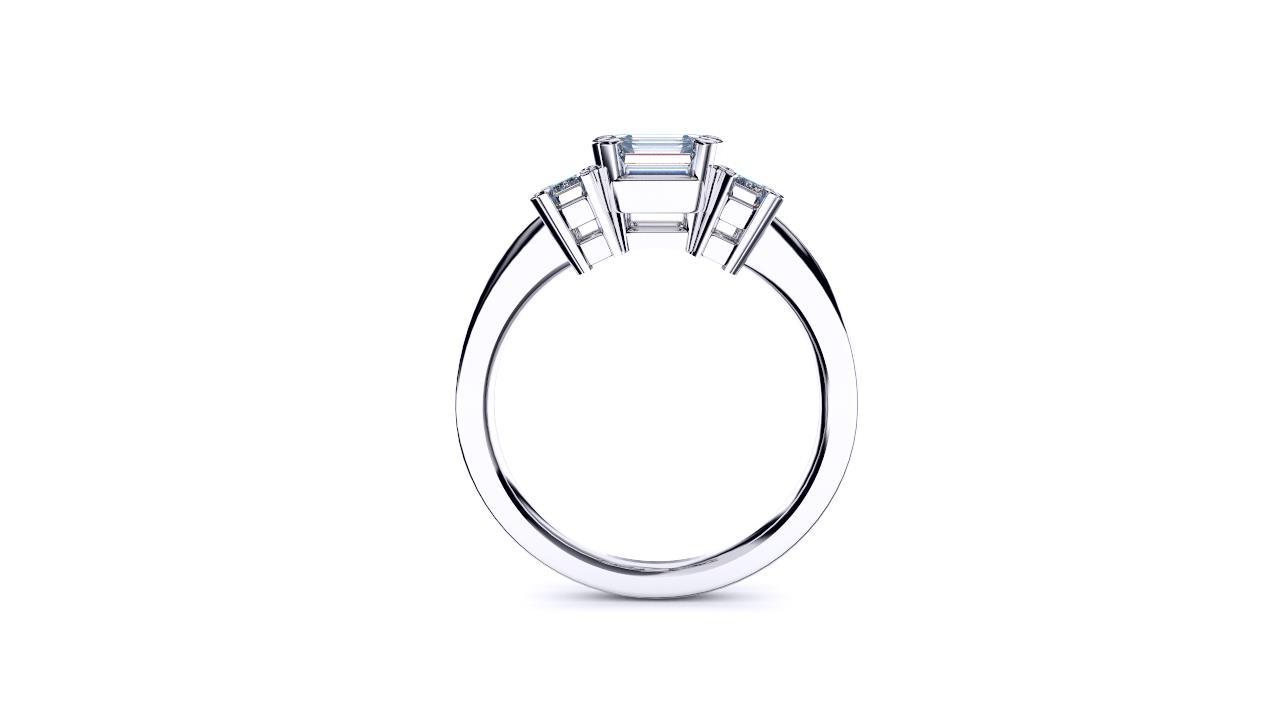 Brisbane diamond company three stone asscher with emerald cut diamonds edge