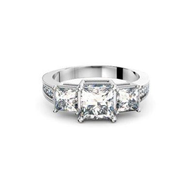 Three stone antique princess ring by Brisbane Diamond Company edge view
