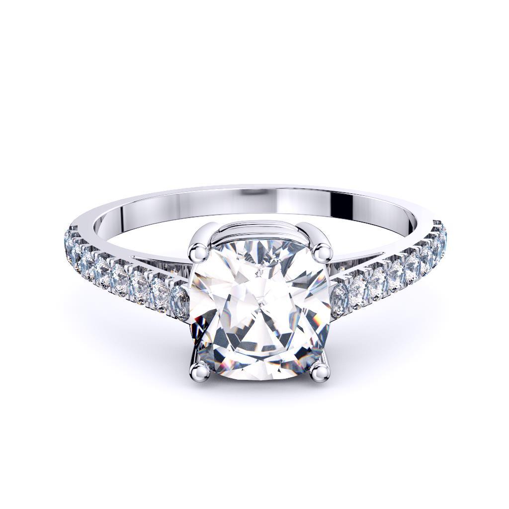18K White Gold Cushion Diamond Pave Engagement Ring