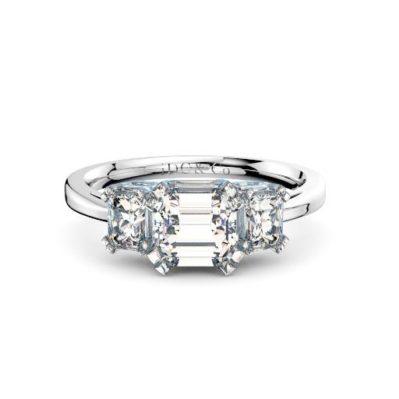 Brisbane diamond company three stone asscher with emerald cut diamonds front